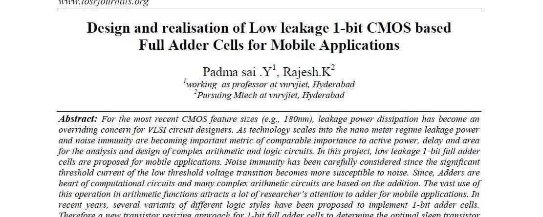 Full Adder Cells