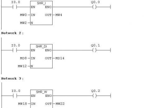 دستورات shift در plc s7